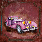 Car Mascot Digital Art Metal Prints - Retro car Metal Print by Nune Hovhannisyan