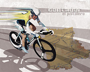 Cycling Art Paintings - Retro Contador Poster El Pistolero by Sassan Filsoof