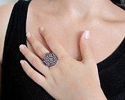 Black Ring Jewelry Originals - Retro Dreams In Black And White Ring by Rony Bank