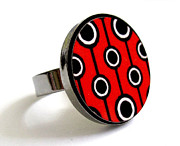 Black Ring Jewelry Originals - Retro Dreams In Black White Red Ring by Rony Bank