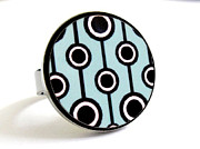 Black Ring Jewelry Originals - Retro Dreams in Turquoise Ring by Rony Bank