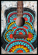 Acoustic Guitar Painting Originals - Retro Guitar by Tara Richelle