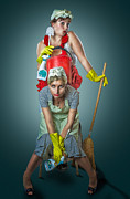 Cleanup Prints - Retro Housewives Print by Erik Brede