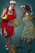 Housework Posters - Retro Housewives II Poster by Erik Brede