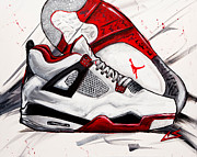 Basketball Shoes Posters - Retro IV Poster by Chuck  Styles