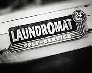 Laundromat Posters - Retro Laundromat Sign in Black and White Poster by Lisa Russo