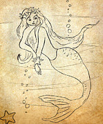 Rosalie Scanlon Posters - Retro Mermaid Poster by Rosalie Scanlon