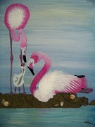 Miami Mixed Media Framed Prints - Retro Miami - Flamingos 1 Framed Print by Gigi Croom