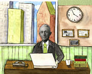Looking At Camera Paintings - Retro Modern Businessman by Kerrie  Hubbard
