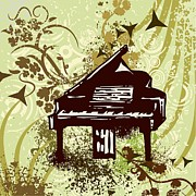 Instrument Drawings Originals - Retro Piano  by ClipartDesign