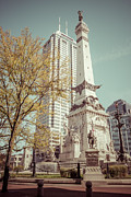 Indy Photos - Retro Picture of Indianapolis Soldiers and Sailors Monument  by Paul Velgos