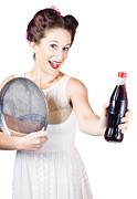 Retro Pin-up Girl Giving Bottle Of Soft Drink Print by Ryan Jorgensen