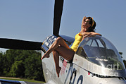 P-51 Mustang Photos - Retro Pin-up Girl Sitting by Christian Kieffer