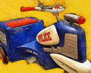 Adorable Digital Art - Retro Police Tricycle by Michelle Calkins