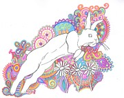 Patterned Drawings Metal Prints - Retro Rabbit 2 Metal Print by Cherie Sexsmith