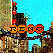 Wing Chee Tong Digital Art Prints - Retro Reno Nevada The Biggest Little City In The World 20130505v1 Print by Wingsdomain Art and Photography
