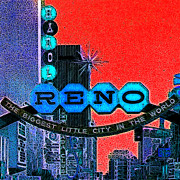 Nevada Digital Art - Retro Reno Nevada The Biggest Little City In The World 20130505v2 by Wingsdomain Art and Photography