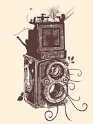 Shirt Digital Art - Retro Rolleiflex - Evolution of Photography by Denis Marsili