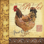 Postage Stamps Paintings - Retro Rooster 1 by Debbie DeWitt