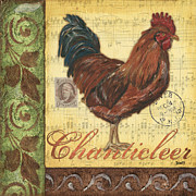 Cream Prints - Retro Rooster 2 Print by Debbie DeWitt