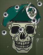 Slash Art - Retro skull and beret military motif by Christos Georghiou
