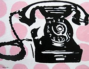 Decorating Mixed Media - Retro Telephone by Venus