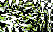 Natalie Kinnear Posters - Retro Waves Abstract - Lime Green Poster by Natalie Kinnear