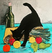 Red Cat Wine Prints - Return From Market With Black Cat Print by Atelier De  Jiel