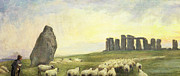 Dog Walking Posters - Returning Home     Stonehenge Poster by Edgar Barclay