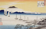 Returning Sails At Yabase Print by Hiroshige