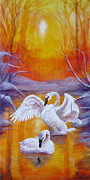 Swans... Paintings - Returning Swans by Karen Copley