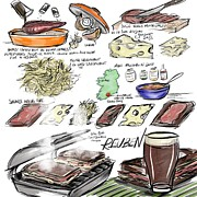 Culinary Drawings Prints - Reuben Sandwich Print by Lisa Owen-Lynch