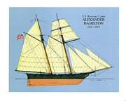 Sailing Ship Drawings Framed Prints - Revenue Cutter Alexander Hamilton Framed Print by Jerry McElroy