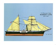 Sailing Ship Drawings Framed Prints - Revenue Cutter Harriet Lane Framed Print by Jerry McElroy