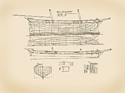 Historic Ship Drawings Prints - Revenue Cutter James Madison Print by Jerry McElroy