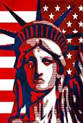 Lady Liberty Mixed Media Prints - Reversing Liberty 2 Print by Angelina Vick