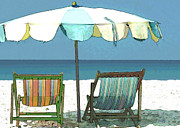 Sand Dunes Painting Framed Prints - Revised Seaside Beach Umbrella and Chairs Framed Print by Elaine Plesser