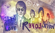 Beatles John Lennon Paul Mccartney George Harrison Ringo Starr Music Rock Icon Framed Prints - Revolution Framed Print by Mo T