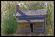 Old Cabins Framed Prints - Revolutionary War Cabin Framed Print by Larry Bishop