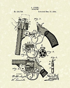 Weapon Drawings Framed Prints - Revolver 1894 Patent Art Framed Print by Prior Art Design