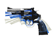 Blue Art Prints - Revolver on White - left facing Print by Michael Tompsett