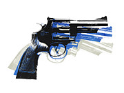 Blue Art Prints - Revolver on White - right facing Print by Michael Tompsett