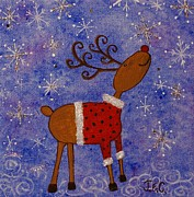 Jane Chesnut Prints - Rex the Reindeer Print by Jane Chesnut