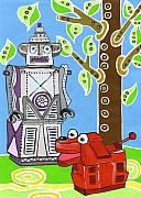 Toys Framed Prints - Rex the Robot Dog and Robot Friend Framed Print by Lynnda Rakos