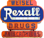 Road Sign Paintings - Rexall Drugs by David Lloyd Glover