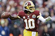 Redskins Posters - RG 3 in Perfect Form Poster by George Pedro
