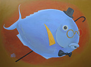 Golden Fish Painting Posters - Rhapsody in Blue Poster by Marina Gnetetsky