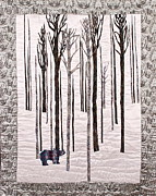 Tree Creature Mixed Media Prints - Rhino in a Snow Forest Print by Elena Kazmier Miranda Radock