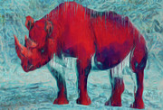 Horn Digital Art Prints - Rhino Print by Jack Zulli