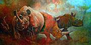 Bush Wildlife Paintings - Rhino Walk by Michael Durst